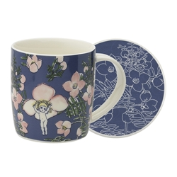 May Gibbs Mug & Coaster Set Flower Babies Blue 320ml