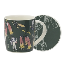 May Gibbs Mug & Coaster Set Flower Babies Dark Green 320ml